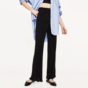 Zara Black Ribbed Wide High Rise Trousers Small
